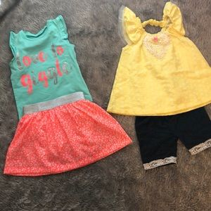 Lot of two adorable toddler girl outfits